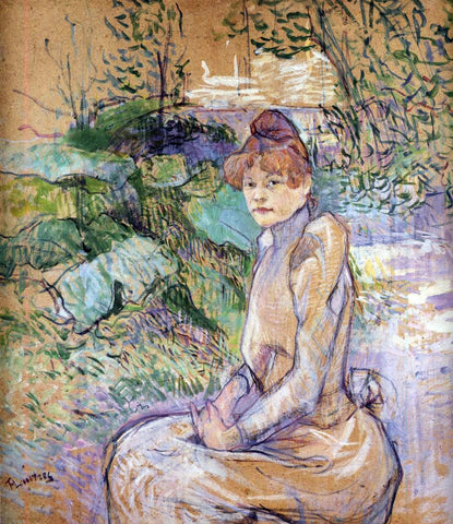 Henri De Toulouse-Lautrec Woman in Monsieur Forest's Garden - Hand Painted Oil Painting