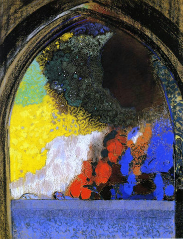 Odilon Redon Woman in Profile under a Gothic Arch - Hand Painted Oil Painting