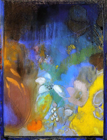 Odilon Redon Woman in Profile with Flowers - Hand Painted Oil Painting