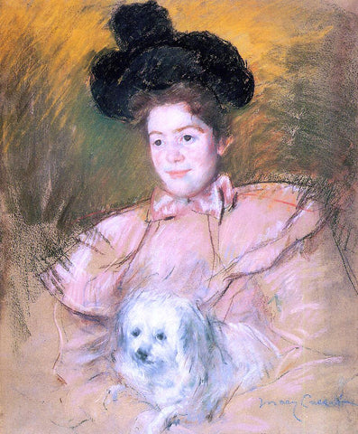 Mary Cassatt Woman in Raspberry Costume Holding a Dog - Hand Painted Oil Painting