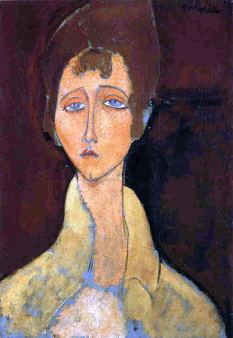 Amedeo Modigliani Woman in White Coat - Hand Painted Oil Painting