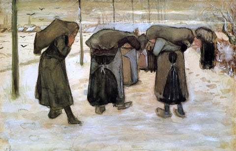 Vincent Van Gogh Woman Miners Carrying Coal - Hand Painted Oil Painting