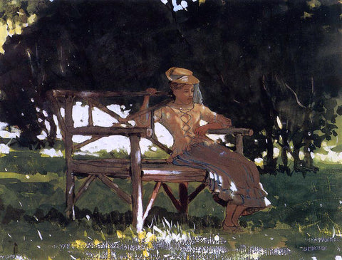 Winslow Homer Woman on a Bench (also known as Girl on a Garden Seat) - Hand Painted Oil Painting