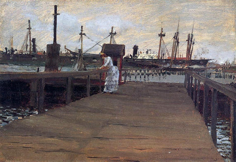 William Merritt Chase Woman on a Dock - Hand Painted Oil Painting