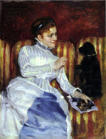 Mary Cassatt Woman on a Striped with a Dog (also known as Young Woman on a Striped Sofa with Her Dog) - Hand Painted Oil Painting