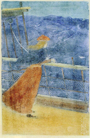 Maurice Prendergast Woman on Ship Deck, Looking out to Sea (also known as Girl at Ship's Rail) - Hand Painted Oil Painting