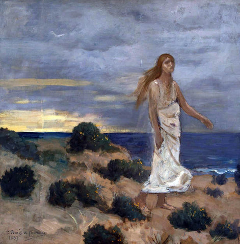 Pierre Puvis De Chavannes Woman on the Beach - Hand Painted Oil Painting
