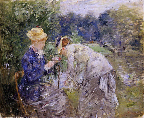 Berthe Morisot Woman Picking Flowers - Hand Painted Oil Painting