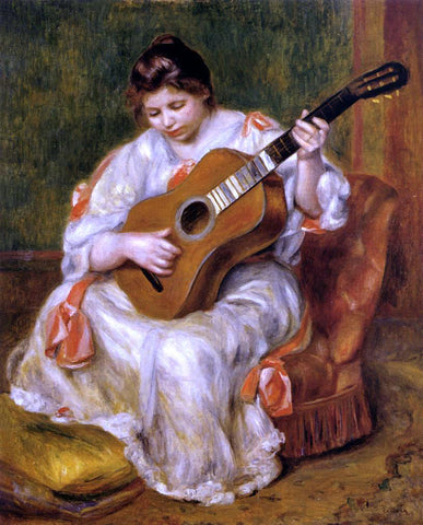 Pierre Auguste Renoir Woman Playing the Guitar - Hand Painted Oil Painting