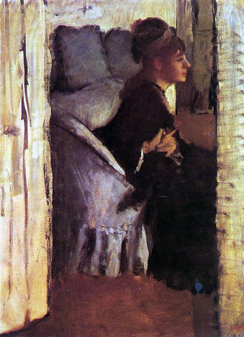 Edgar Degas Woman Putting on Her Gloves - Hand Painted Oil Painting