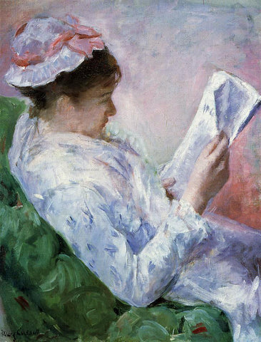 Mary Cassatt Woman Reading - Hand Painted Oil Painting