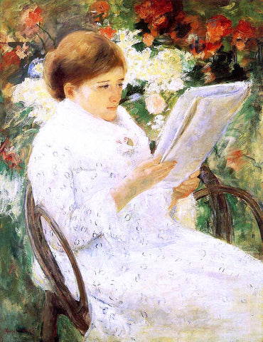 Mary Cassatt Woman Reading in a Garden - Hand Painted Oil Painting