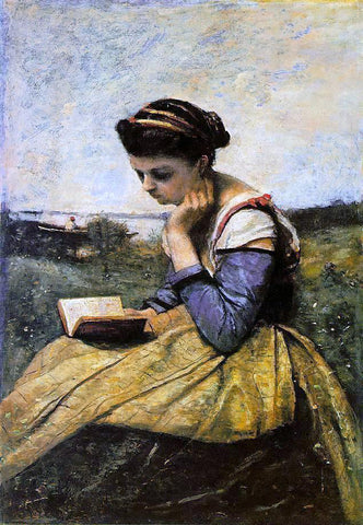 Jean-Baptiste-Camille Corot Woman Reading in a Landscape - Hand Painted Oil Painting