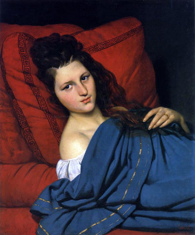 Joseph Desire Court Woman Reclining on a Divan - Hand Painted Oil Painting