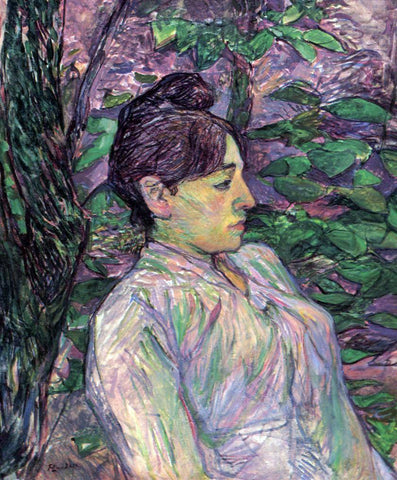 Henri De Toulouse-Lautrec Woman Seated in a Garden - Hand Painted Oil Painting