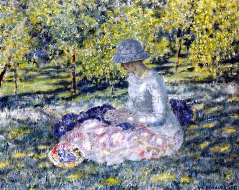 Frederick Carl Frieseke A Woman Seated in a Park with Basket - Hand Painted Oil Painting