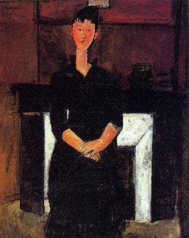 Amedeo Modigliani Woman Seated in Front of a Fireplace - Hand Painted Oil Painting