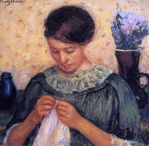 Mary Cassatt Woman Sewing - Hand Painted Oil Painting