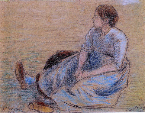 Camille Pissarro Woman Sitting on the Floor - Hand Painted Oil Painting