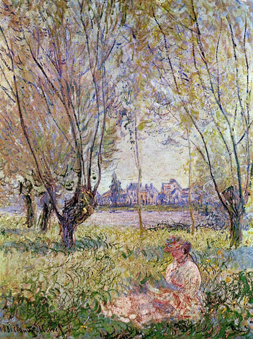 Claude Oscar Monet Woman Sitting Under the Willows - Hand Painted Oil Painting