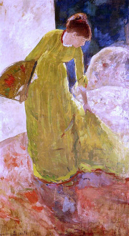 Mary Cassatt Woman Standing, Holding a Fan - Hand Painted Oil Painting