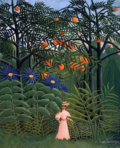 Henri Rousseau Woman Walking in an Exotic Forest - Hand Painted Oil Painting