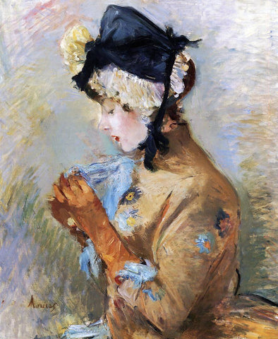 Berthe Morisot Woman Wearing Gloves (also known as The Parisian) - Hand Painted Oil Painting