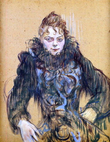 Henri De Toulouse-Lautrec Woman with a Black Boa - Hand Painted Oil Painting