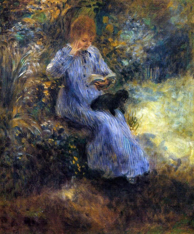 Pierre Auguste Renoir Woman with a Black Dog - Hand Painted Oil Painting