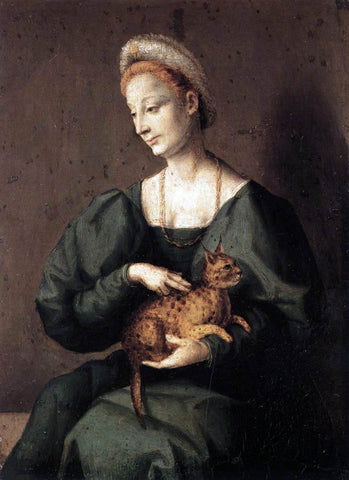 II Francesco Ubertini Bacchiacca Woman with a Cat - Hand Painted Oil Painting