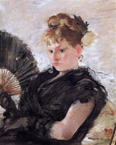 Berthe Morisot Woman with a Fan (also known as Head of a Girl) - Hand Painted Oil Painting