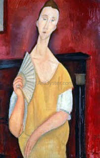 Amedeo Modigliani Woman with a Fan - Hand Painted Oil Painting