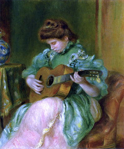 Pierre Auguste Renoir A Woman with a Guitar - Hand Painted Oil Painting
