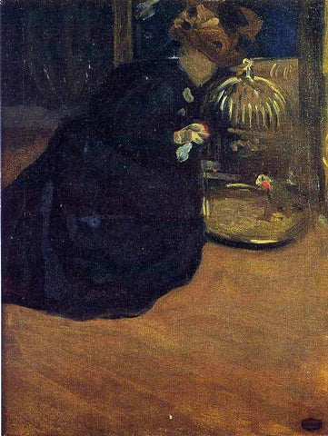 Mary Cassatt Woman with a Parakeet - Hand Painted Oil Painting