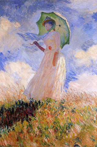 Claude Oscar Monet A Woman with a Parasol (also known as Study of a Figure Outdoors (Facing Left)) - Hand Painted Oil Painting