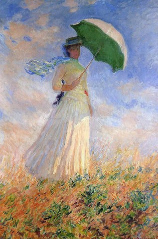 Claude Oscar Monet Woman with a Parasol, Facing Right (also known as Study of a Figure Outdoors (Facing Right)) - Hand Painted Oil Painting