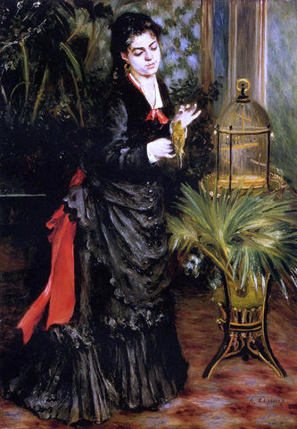 Pierre Auguste Renoir Woman with a Parrot (also known as Henriette Darras) - Hand Painted Oil Painting