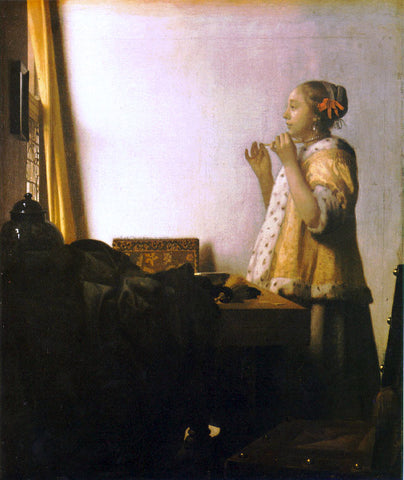Johannes Vermeer Woman with a Pearl Necklace - Hand Painted Oil Painting