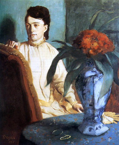Edgar Degas Woman with a Vase of Flowers (also known as Estelle Musson De Gas) - Hand Painted Oil Painting