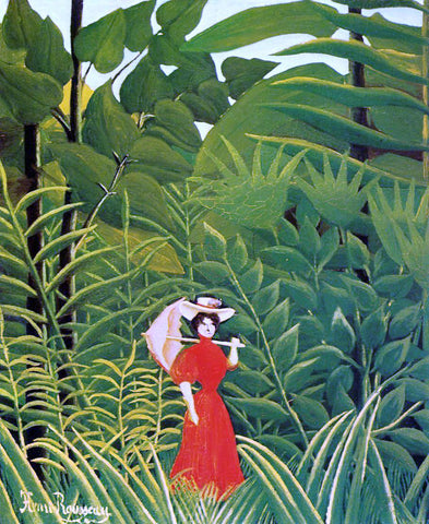 Henri Rousseau Woman with an Umbrella in an Exotic Forest - Hand Painted Oil Painting