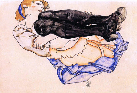 Egon Schiele Woman with Blue Stockings - Hand Painted Oil Painting