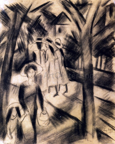 August Macke Woman with Child and Girls on a Road - Hand Painted Oil Painting