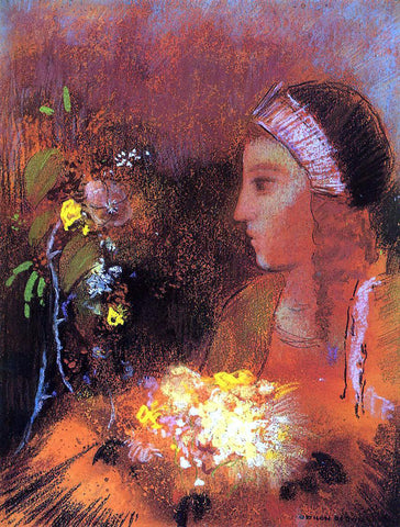 Odilon Redon Woman with Flowers - Hand Painted Oil Painting