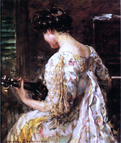 James Carroll Beckwith Woman with Guitar - Hand Painted Oil Painting