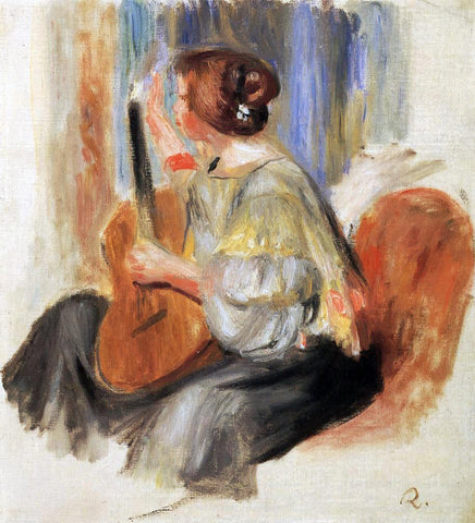 Pierre Auguste Renoir Woman with Guitar - Hand Painted Oil Painting
