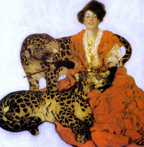 Sarah Stilwell Weber Woman with Leopards - Hand Painted Oil Painting