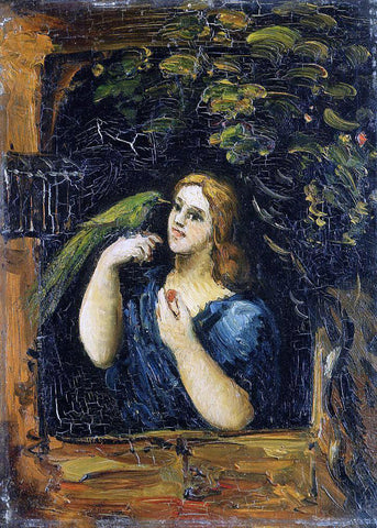 Paul Cezanne Woman with Parrot - Hand Painted Oil Painting