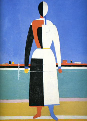 Kazimir Malevich Woman with Rake - Hand Painted Oil Painting
