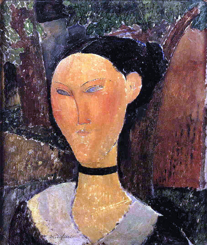 Amedeo Modigliani Woman with Velvet Ribbon (also known as The Black Border) - Hand Painted Oil Painting