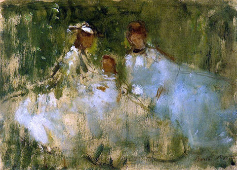 Berthe Morisot Women and Little Girls in a Natural Setting - Hand Painted Oil Painting